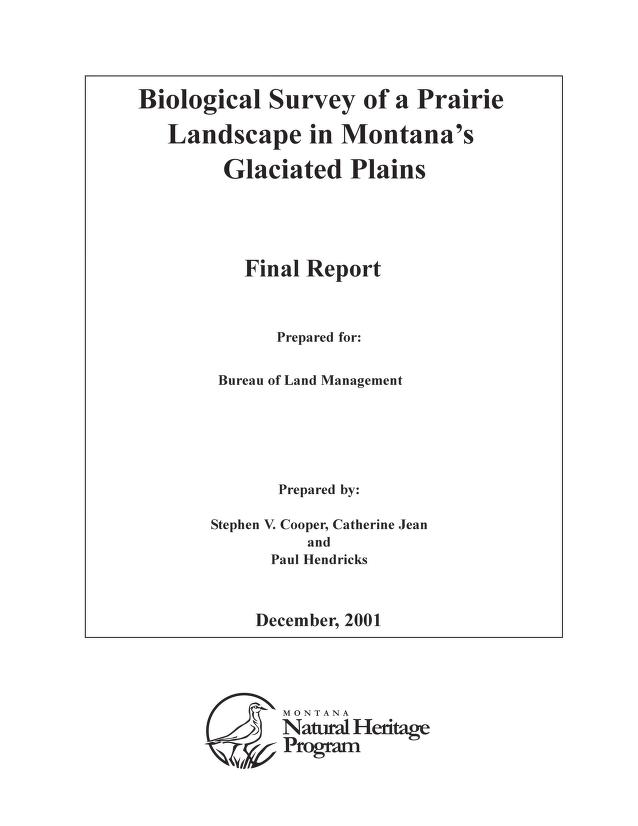 Biological survey of a prairie landscape in Montana's glaciated plains by Stephen V. Cooper